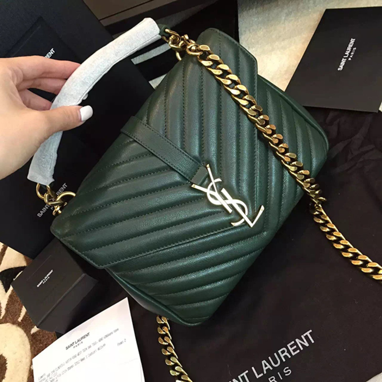 1d6718488685 Yves Saint Laurent YSL green college chain shoulder bag medium Handbags  Leather Green ref.57110 - Joli Closet