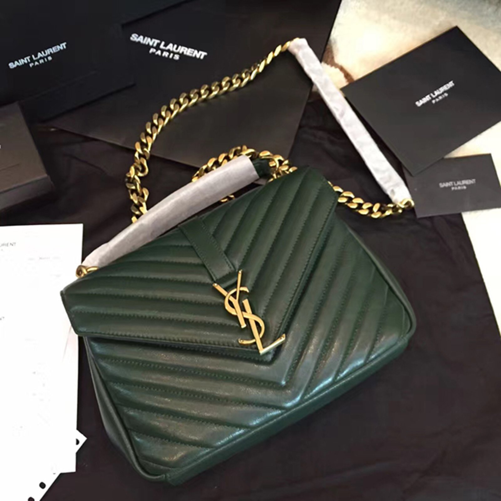 Yves Saint Laurent Ysl Green College Chain Shoulder Bag