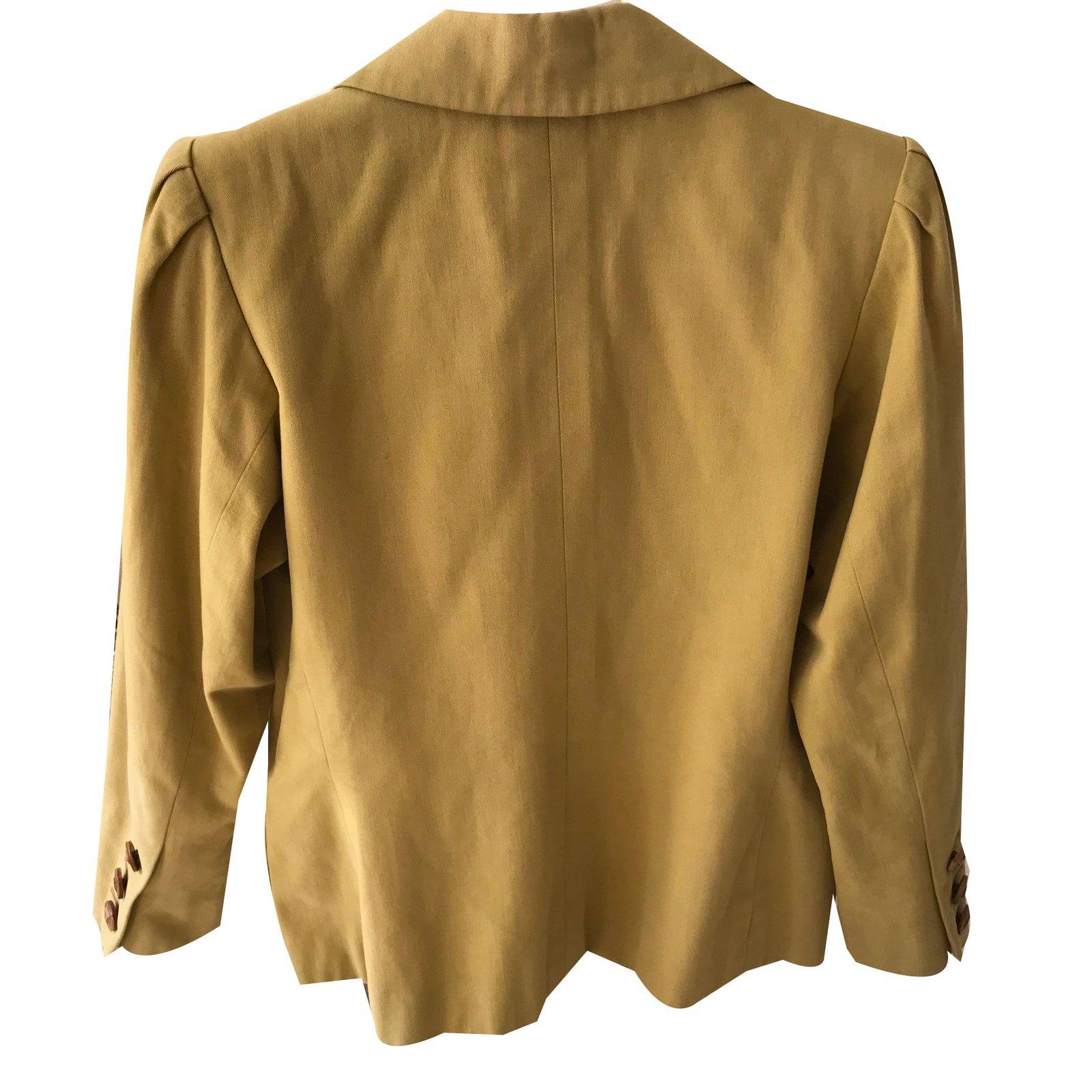 a7b588905ef Yves Saint Laurent YVES ST LAURENT RIVE GAUCHE Jackets Cotton Khaki  ref.57197 - Joli Closet