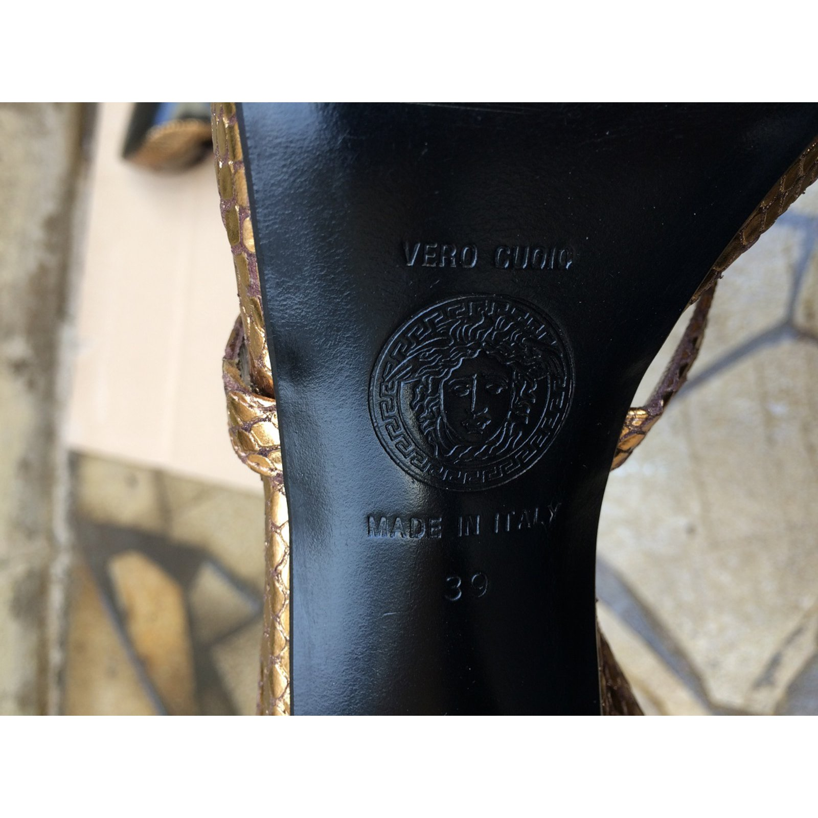 9caa5999e2d8 Facebook · Pin This. Gianni Versace Sandals Sandals Leather Golden ...