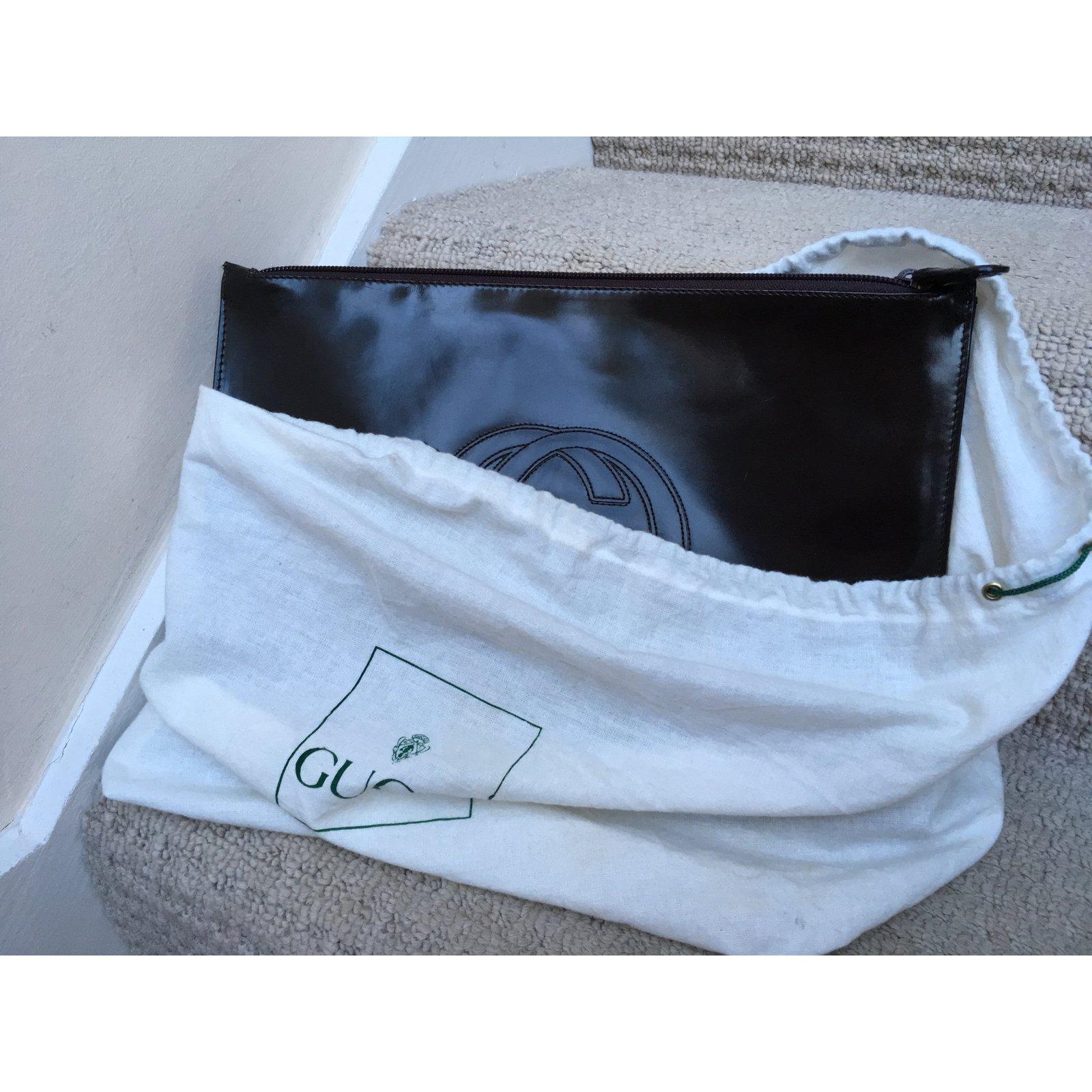 27b73ffc1eb3 Gucci large flat clutch/envelope Clutch bags Patent leather Brown ref.57873  - Joli Closet