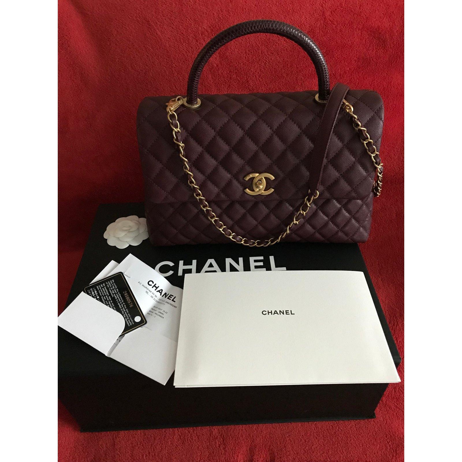 594947229e36 Chanel CHANEL Coco Handle Medium Bag Burgundy Caviar   Lizard   GOLD - New  Handbags Exotic leather Dark red ref.58069 - Joli Closet