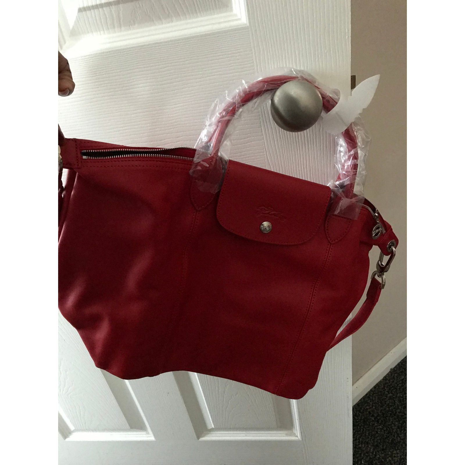 6ab5ec7a4f1b Facebook · Pin This. Longchamp Le Pliage Cuir leather shopper - Red- New  with tags Handbags Leather Red ref