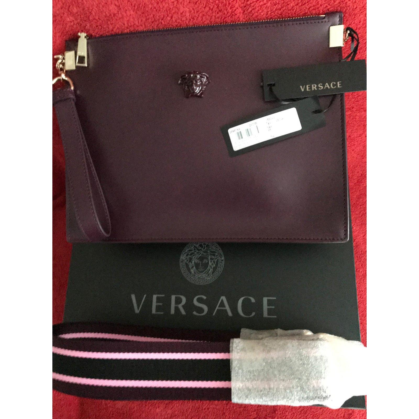 Gianni Versace VERSACE MEDUSA CALF LEATHER POUCH - burgungy All new  Handbags Leather Dark brown ref.58232 - Joli Closet e4240851bcfc8