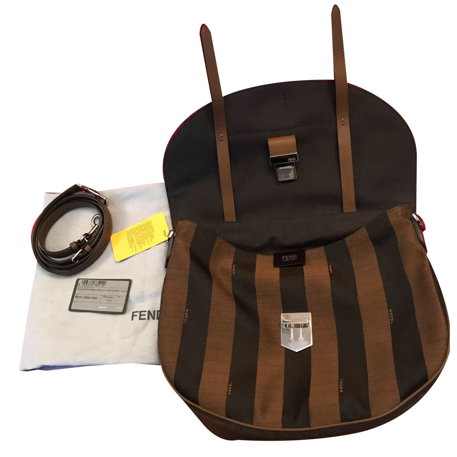 4fa45e7461 Facebook · Pin This. Fendi FENDI Brown Leather   Tobacco Pequin Stripe  Canvas Top Handle Saddle Messenger Handbags Cloth Brown