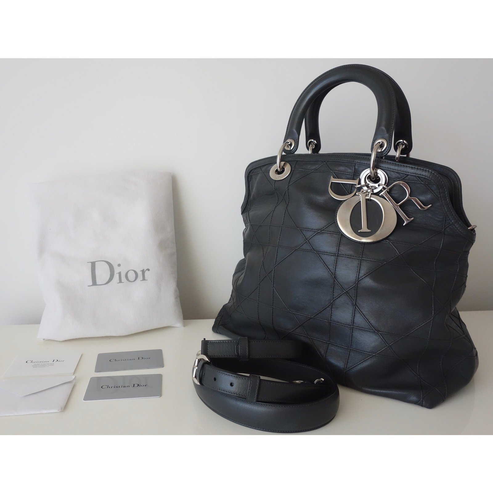 534527de536 Christian Dior GRANVILLE Handbags Leather Grey ref.58266 - Joli Closet