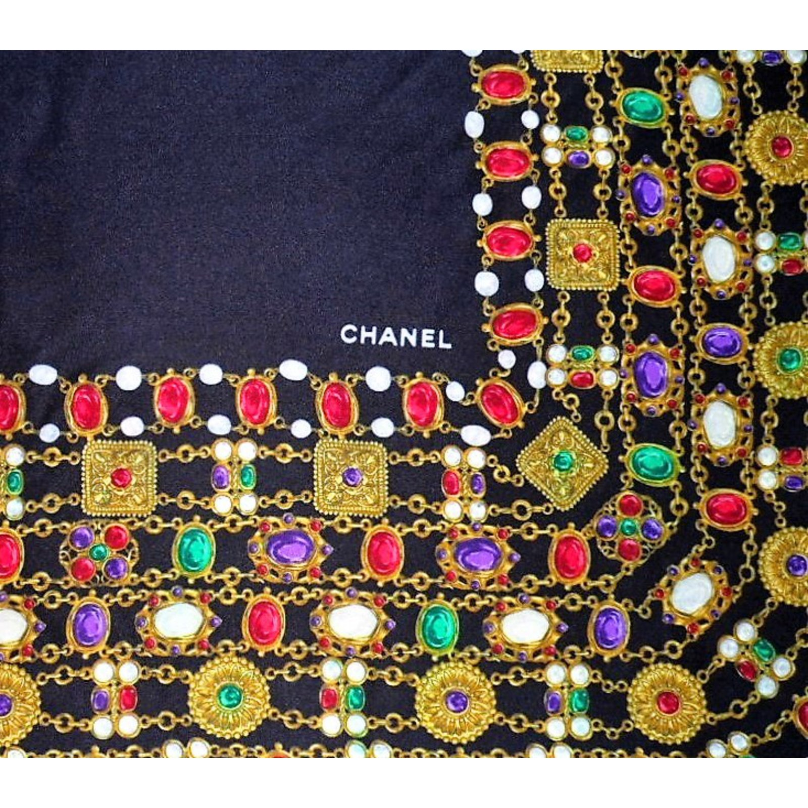 Chanel CHANEL Vintage Gripoix Jewel Print Silk Scarf Silk Scarves Silk  Multiple Colors Ref.58615   Joli Closet