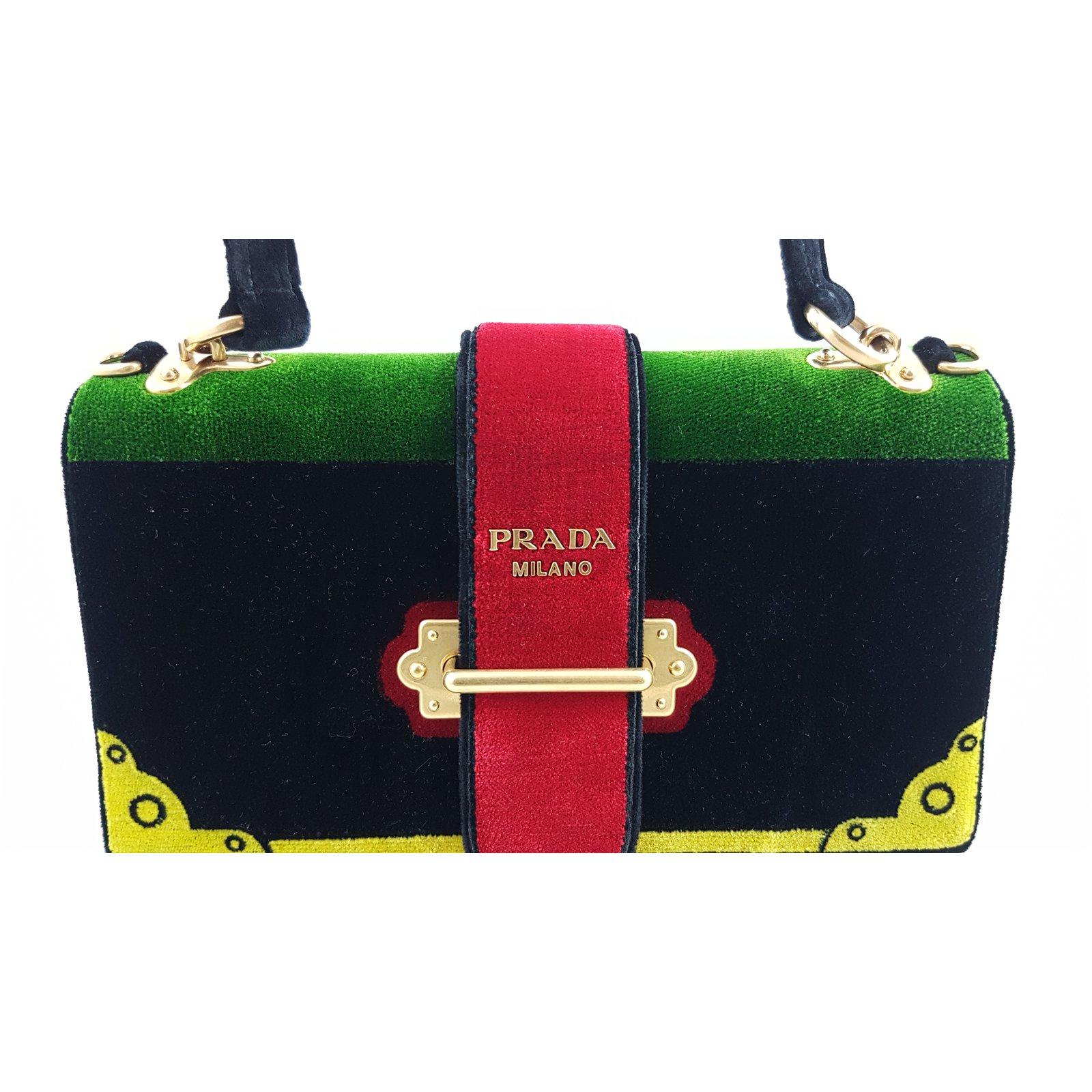 f6d767f10c30ef ... new zealand prada prada 1ba134 chaier handbag velvet handbags velvet  multiple colors ref.59349 joli ...