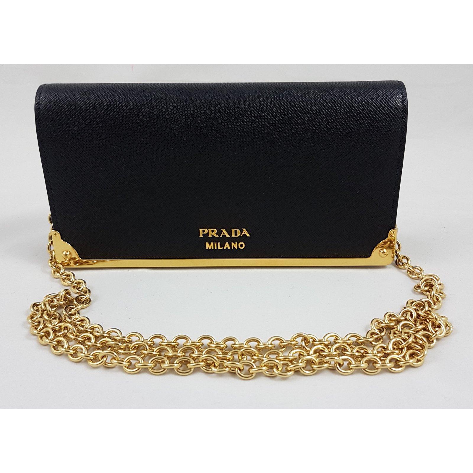 99eead1466 ... uk prada prada wallet on chain purses wallets cases leather black  ref.59353 joli closet