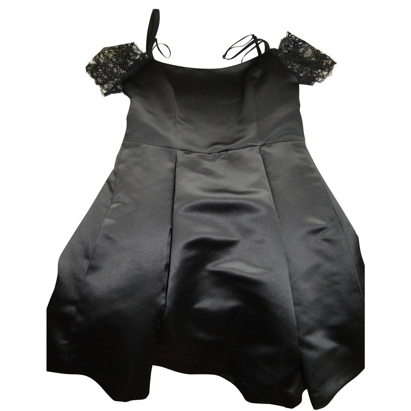 Sandro Ref Joli 60127 Robes satin Ondine Dentelle Closet Noir dOxwd7pqa