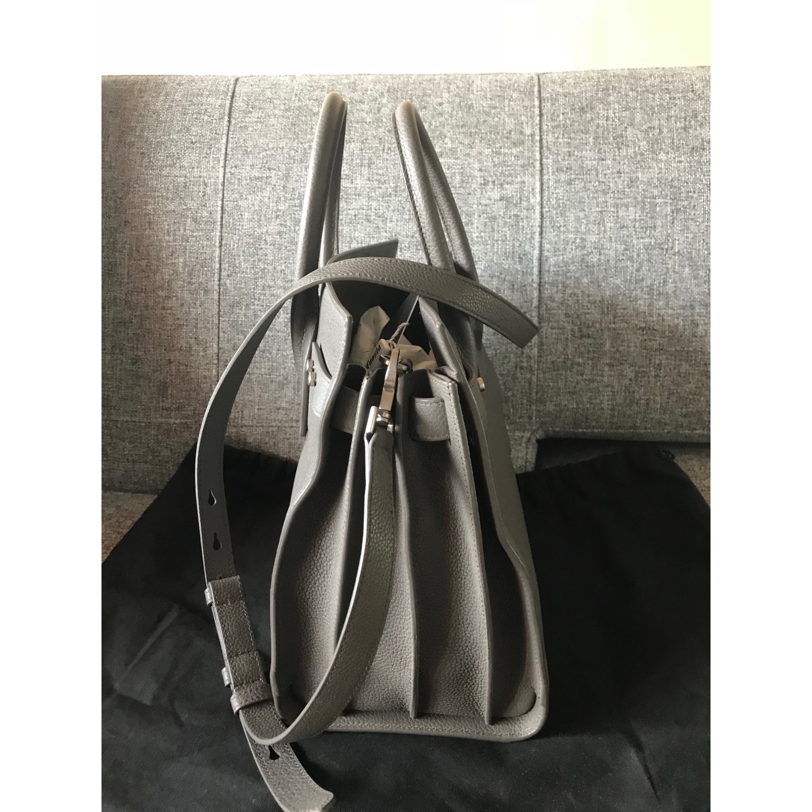 2e24f5e4ef Saint Laurent Sac de jour Handbags Leather Grey ref.60129 - Joli Closet