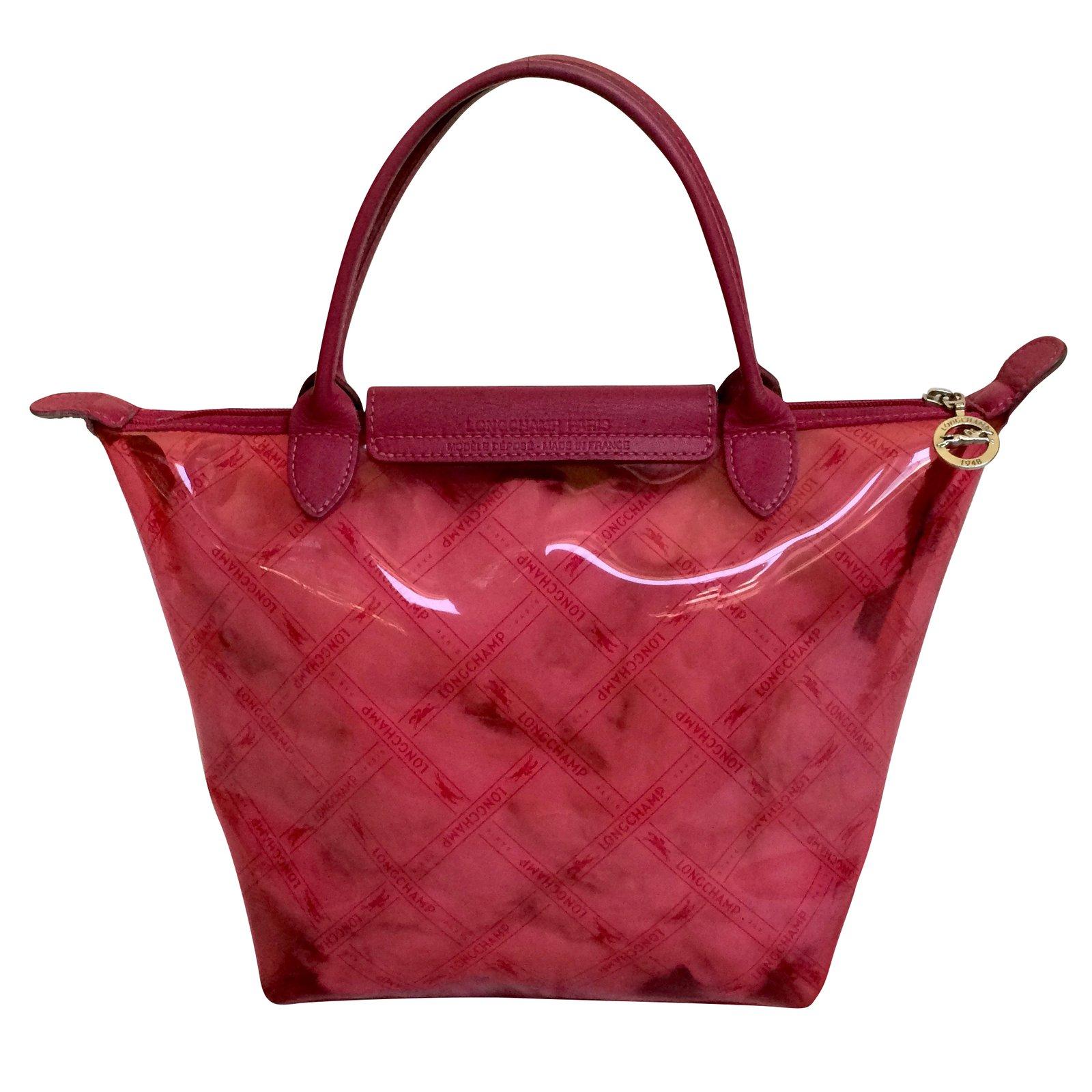in semi rosa pelle a mano trasparente Longchamp Borsa Borsette xSq4Bgq