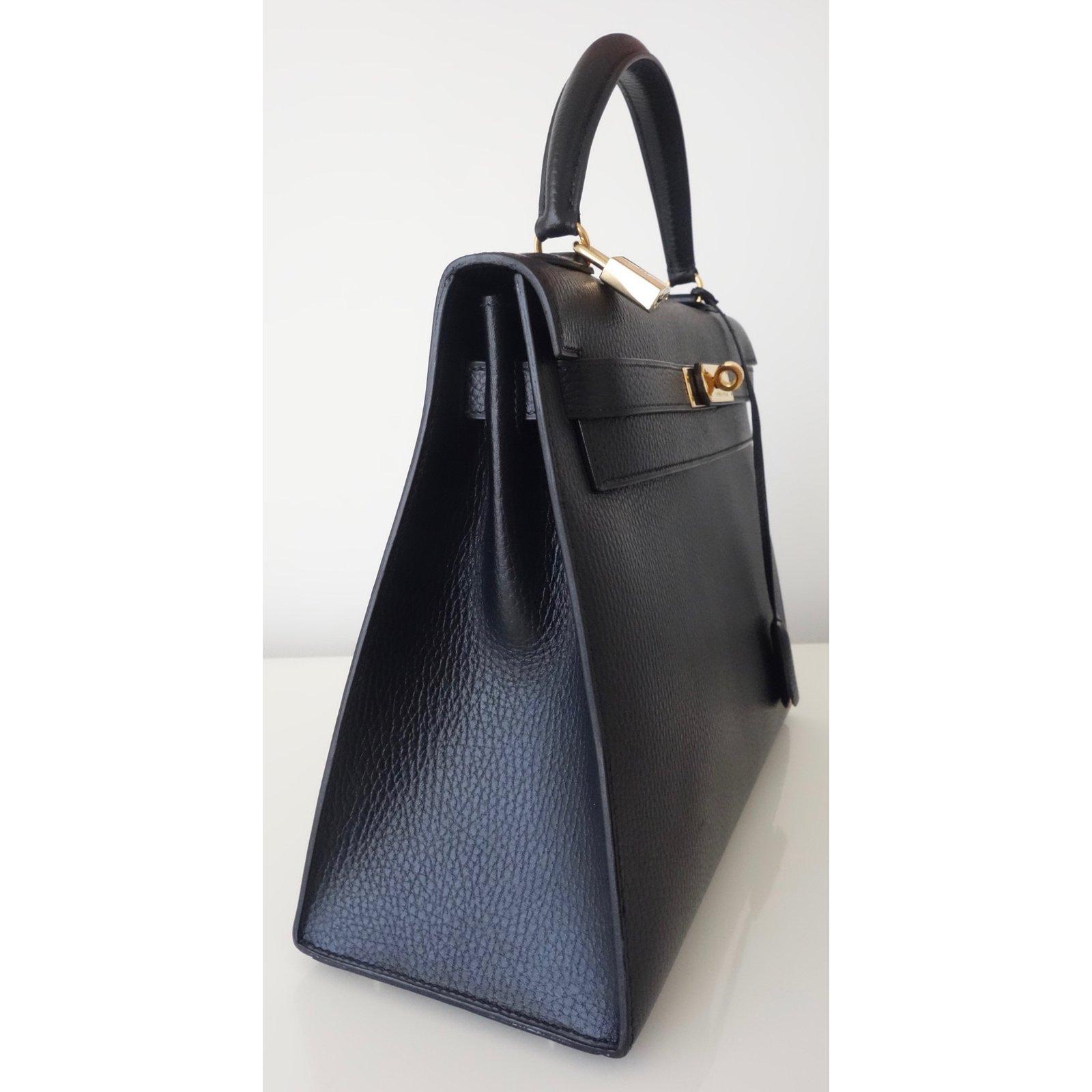 Sacs à main Hermès SAC HERMES KELLY 32 Togo Noir Cuir Noir ref.61961 - Joli  Closet f82442a5930