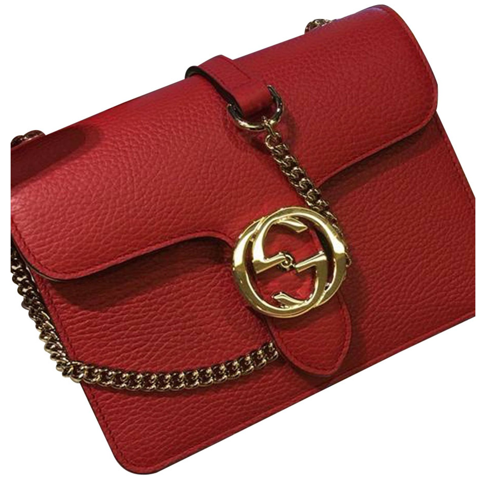 aaa188dc342 Gucci BAG GUCCI INTERLOCKING in red or azzurra or black leather !!!  Handbags Leather Other ref.62061 - Joli Closet