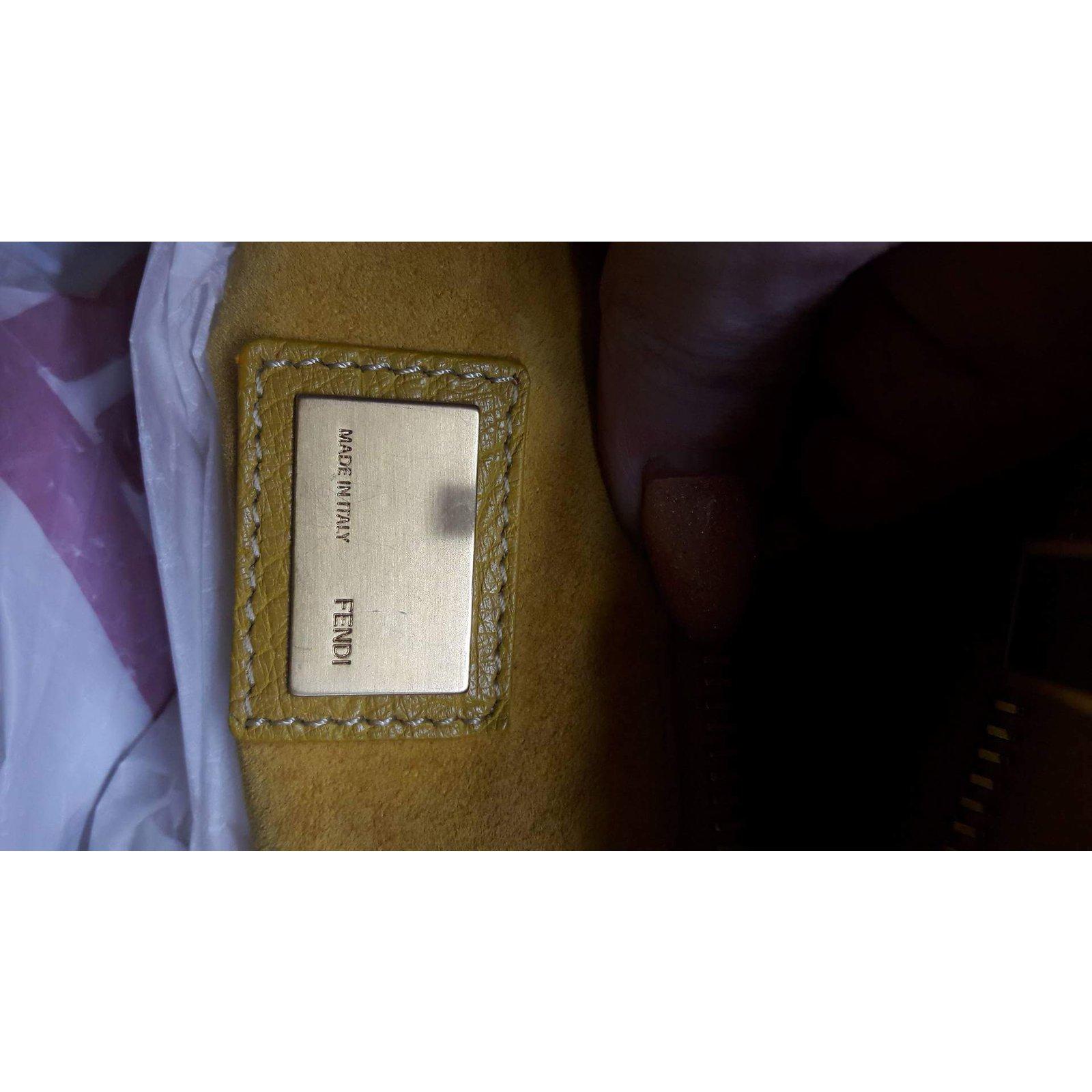 d94020e1c1d0 Fendi Ostrich Peekaboo Handbags Exotic leather Yellow ref.62950 - Joli  Closet