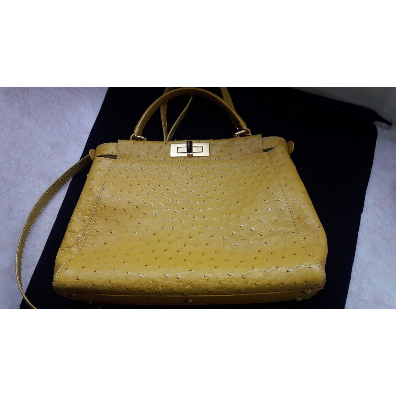 05f1e31241 Fendi Ostrich Peekaboo Handbags Exotic leather Yellow ref.62950 - Joli  Closet