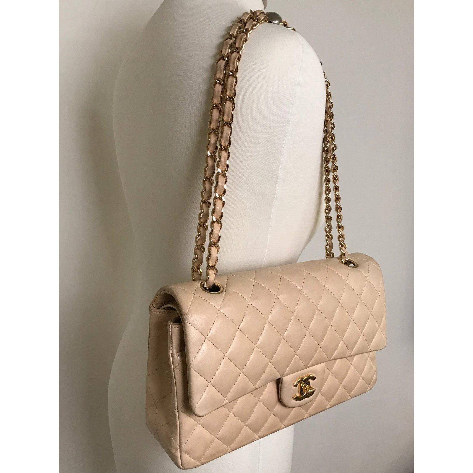 2f66d5a5c0d9 Chanel Chanel Timeless Medium Double Flap Bag Handbags Lambskin Beige  ref.63544 - Joli Closet