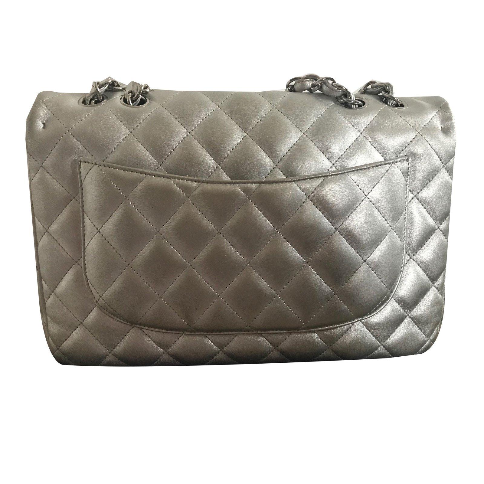 060824754e4f Facebook · Pin This. Chanel Metallic Jumbo Flap Bag Handbags Lambskin Silvery  ref.64207