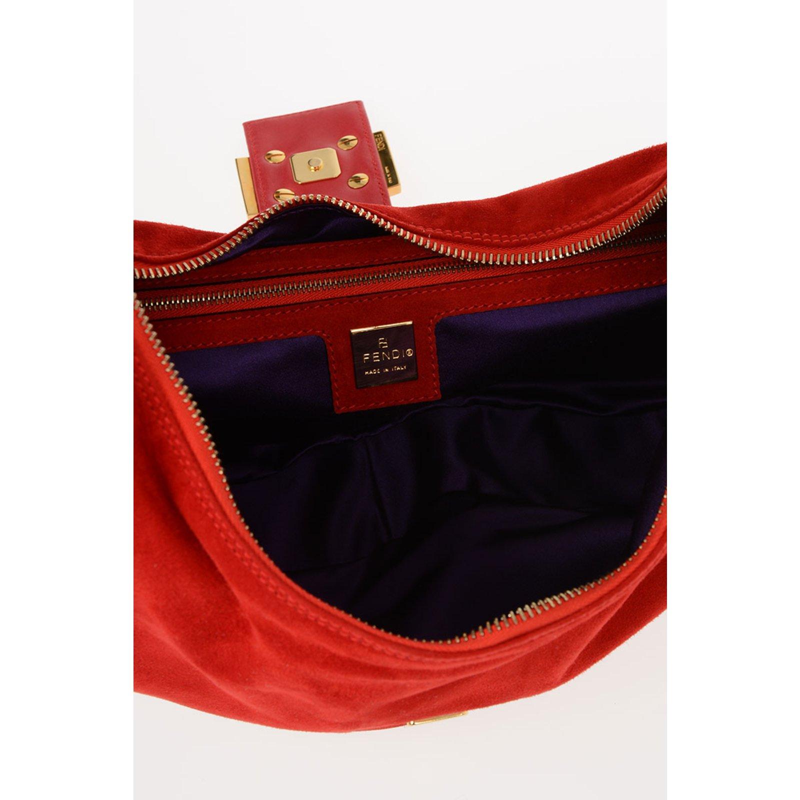 68241e5bfc6 ... Fendi Fendi suede new bag Handbags Leather Red ref.64582 - J finest  selection d0384 ...