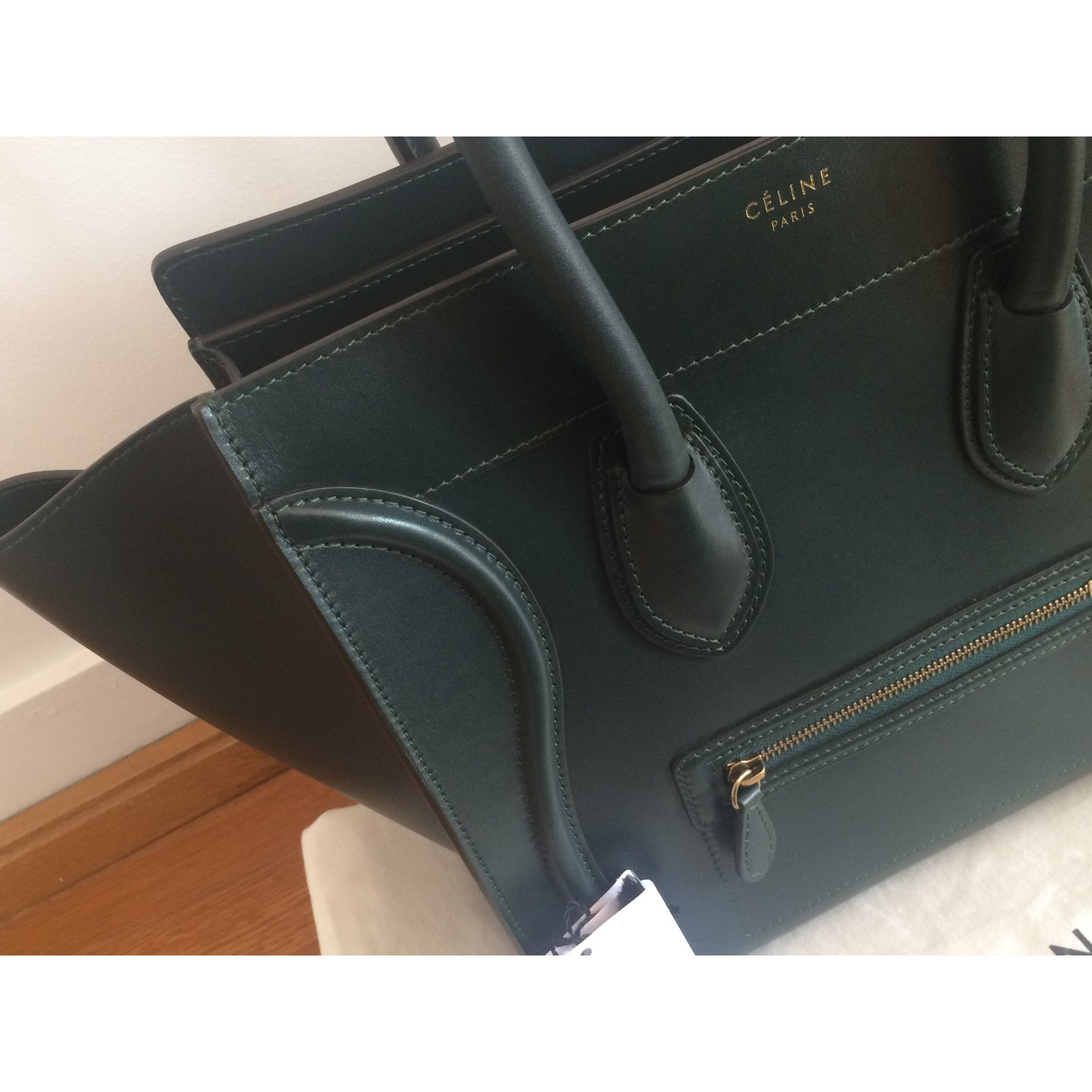 ff3dacf038a2 Céline Luggage Mini Handbags Pony-style calfskin Green ref.64753 - Joli  Closet