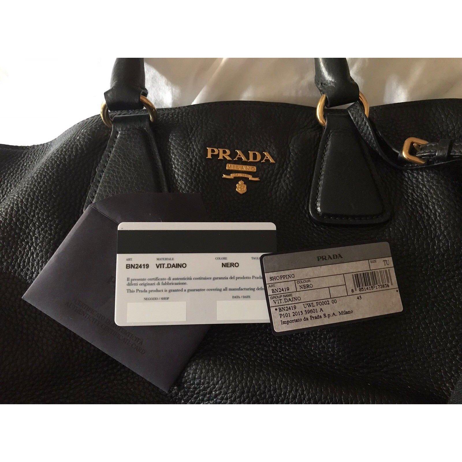 d0f767d1873e Prada vitello daino Handbags Leather Black ref.65038 - Joli Closet