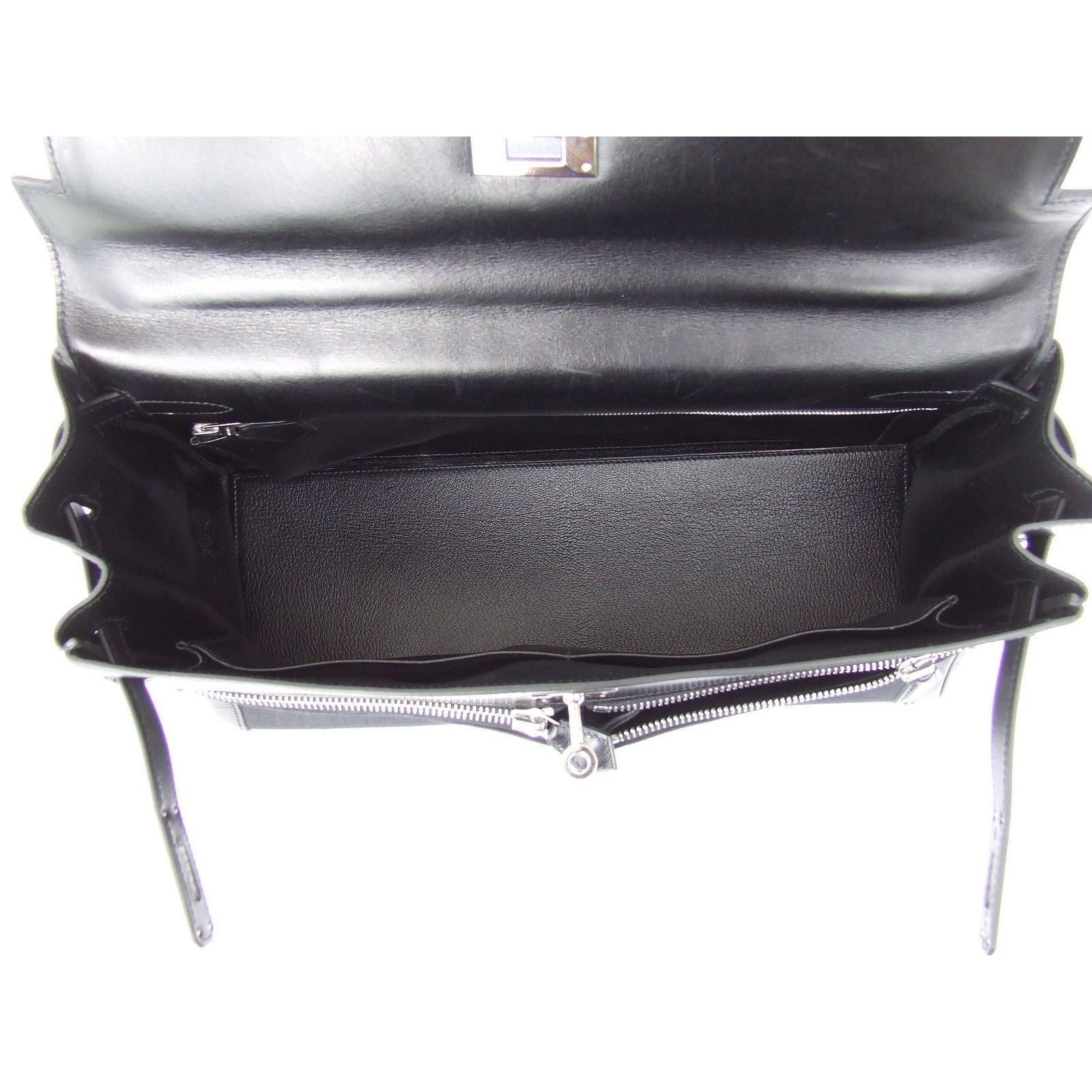 7dcb723de6 Sacs à main Hermès Sac à main Hermès Kelly Lakis Toile et cuir Noir Phw 35  cm Toile Noir ref.65166 - Joli Closet