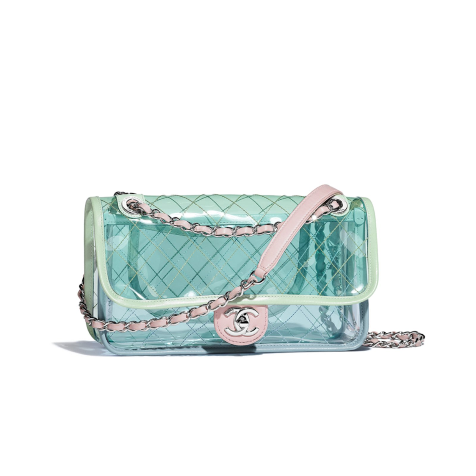 76b0d5443bc0a Chanel Runway Quilted Single Flap with Silver Chain Green Blue Pink PVC Lambskin  Bag Handbags Plastic Multiple colors ref.65207 - Joli Closet