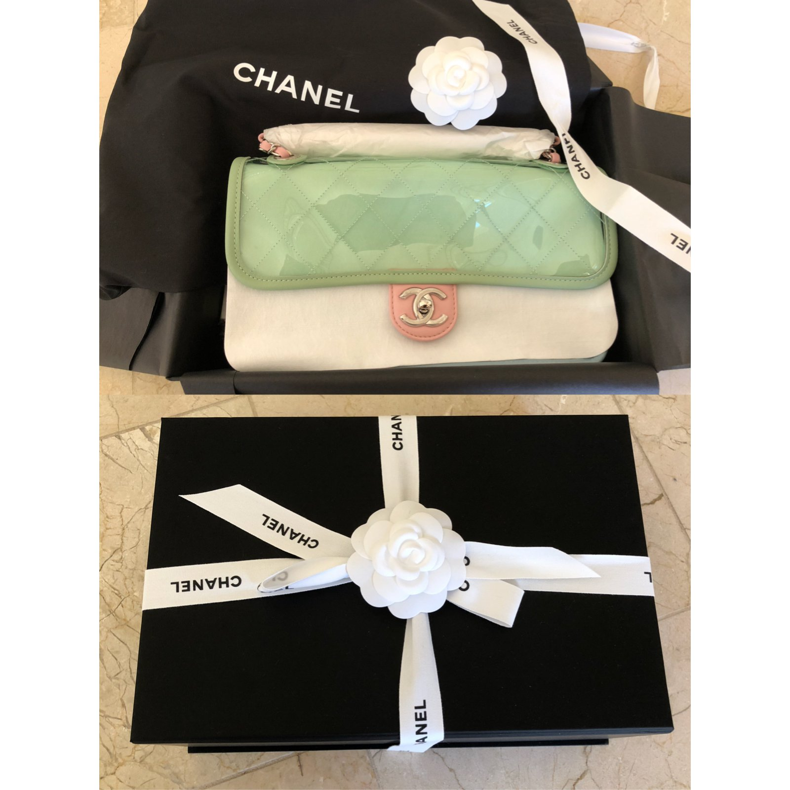 5697fd6f8ec Chanel Runway Quilted Single Flap with Silver Chain Green/Blue/Pink  PVC/Lambskin Bag Handbags Plastic Multiple colors ref.65207 - Joli Closet