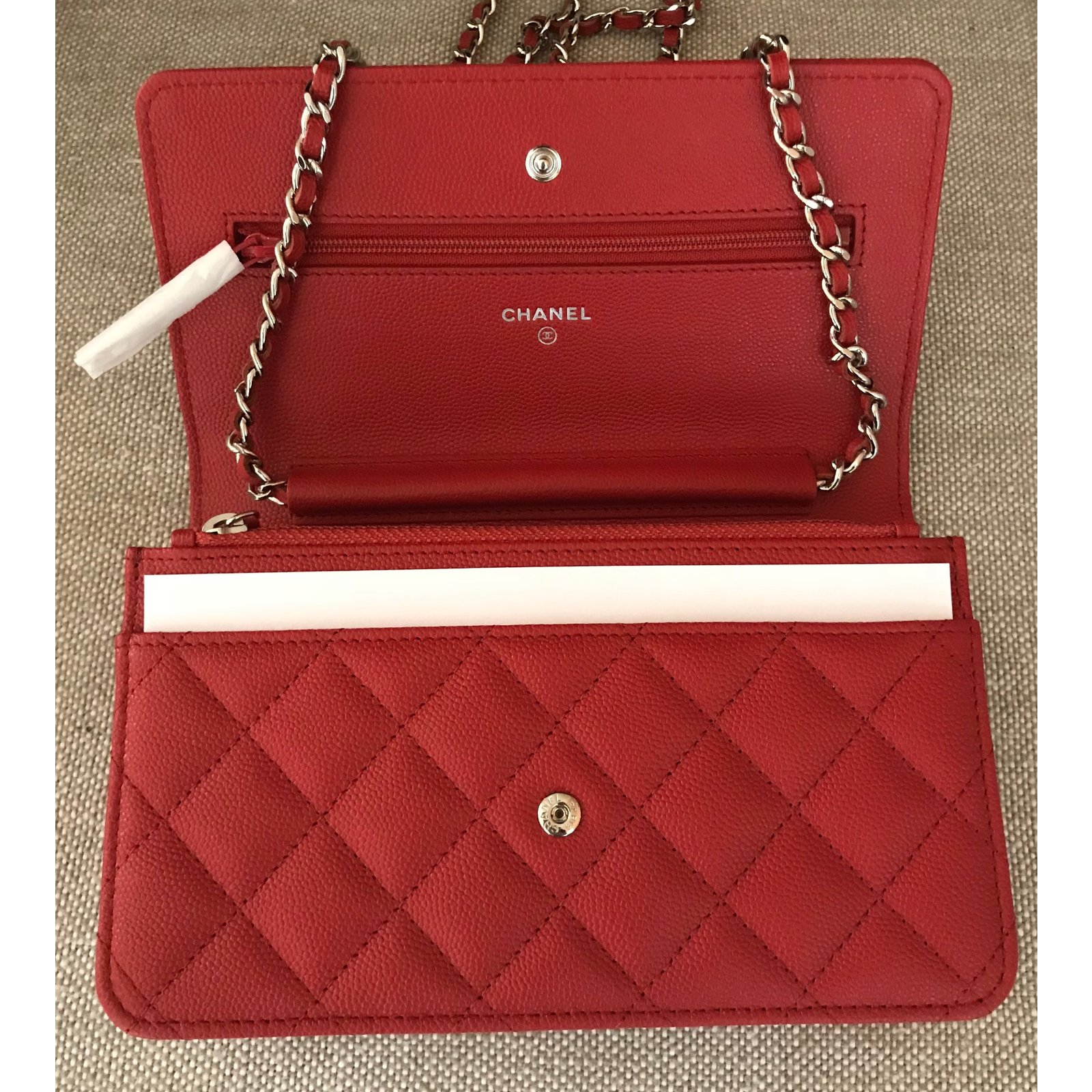 5affd1fef24b Chanel Wallet on Chain Red Caviar Leather with Shiny Silver Chain Handbags  Leather Red ref.65209 - Joli Closet