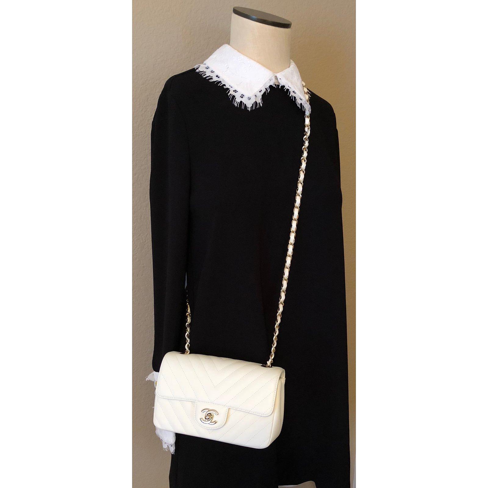 3c632e66de6ae Chanel Mini Flap Ivory Lambskin with Shiny Light Gold Chain Handbags  Leather White ref.65216 - Joli Closet