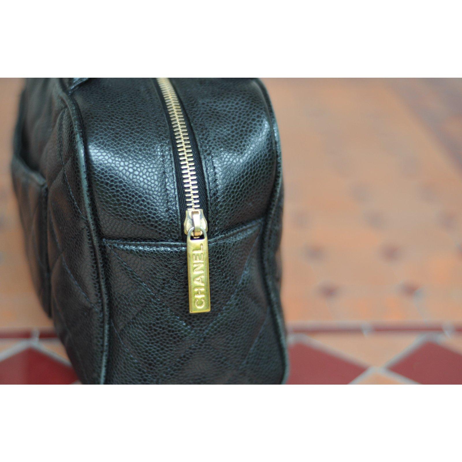 Chanel Vintage Bowling Bag Handbags Leather Black Ref 65221 Joli Closet