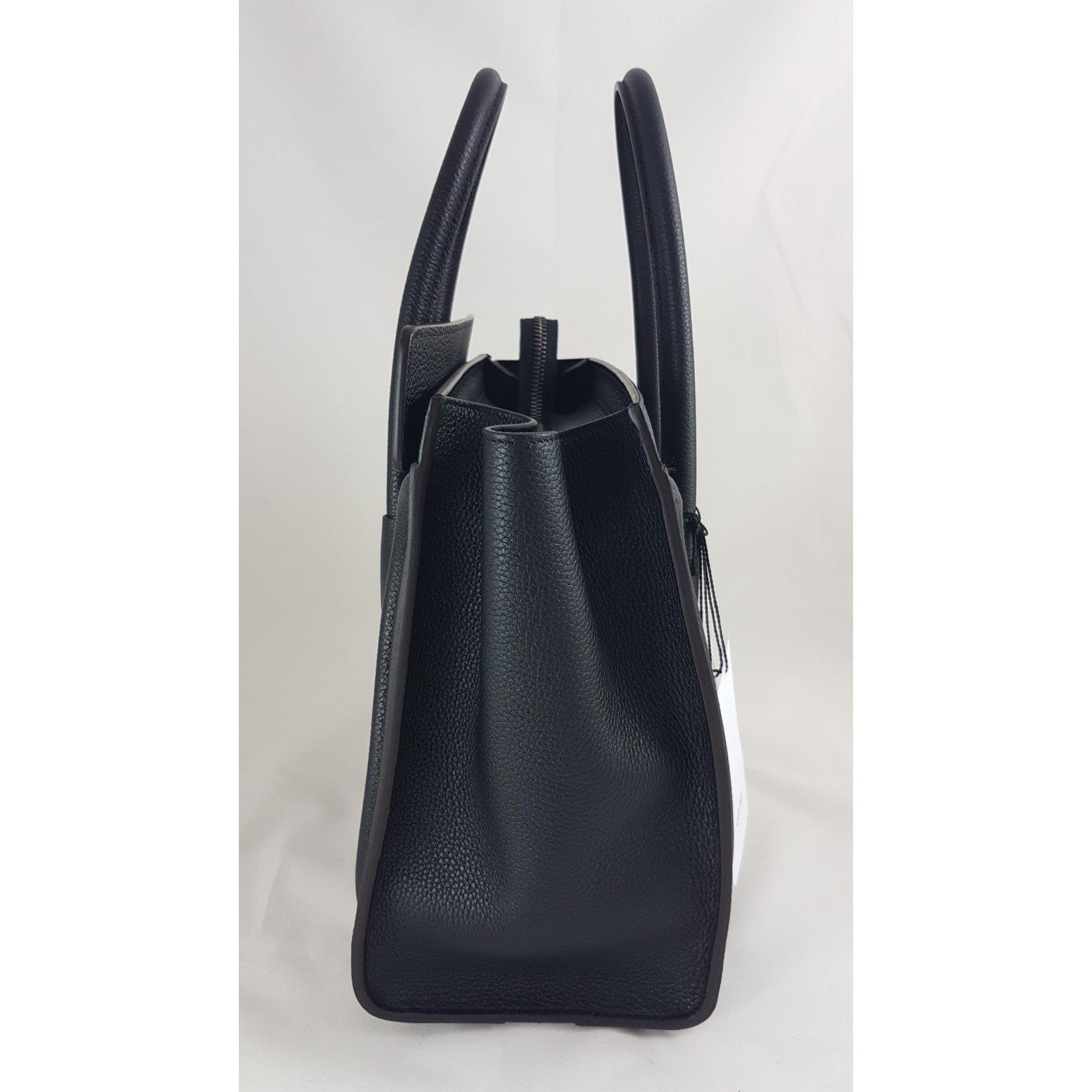 ef698cf0cf644 Céline MICRO LUGGAGE HANDBAG Handbags Leather Black ref.66130 - Joli ...