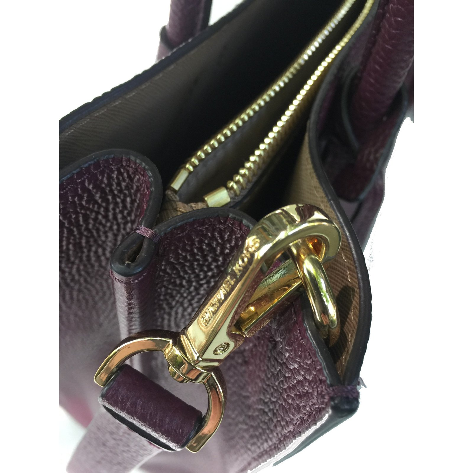 9d7fd66adbd6 Michael Kors Mercer large handbag in dark plum Handbags Leather Purple  ref.67676 - Joli Closet