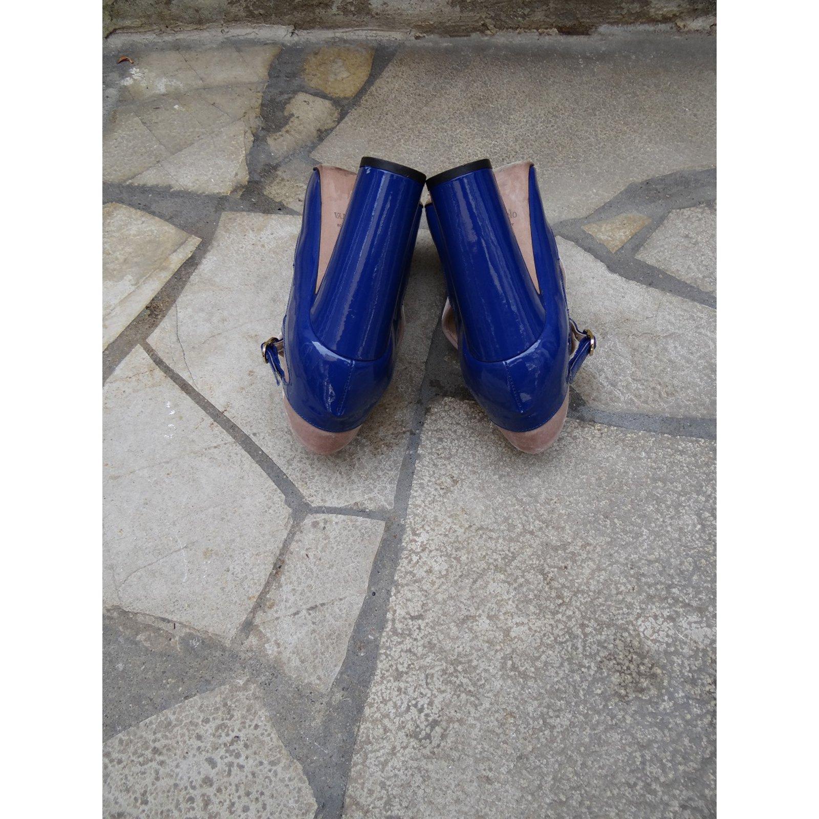 Valentino Pumps Heels VelvetPatent Leather PinkBlue Ref67697
