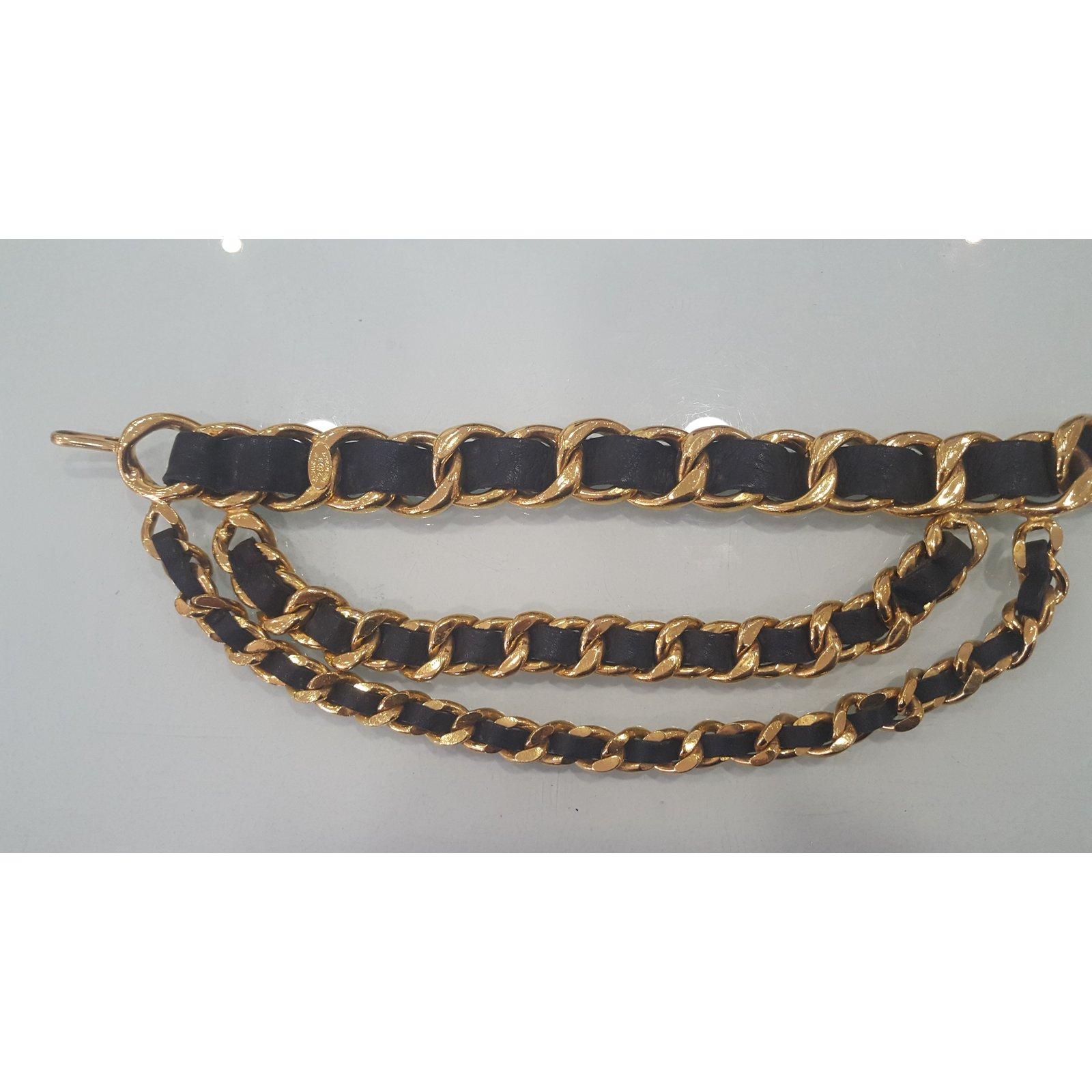 188416d8d53 Ceintures Chanel ceinture cuir et métal doré Métal Doré ref.68435 - Joli  Closet
