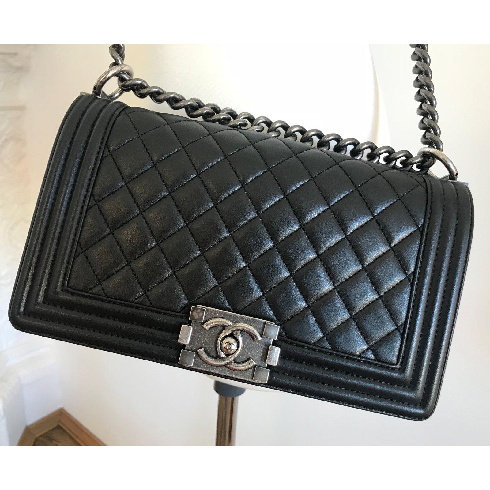 07ff420726a7 Chanel Medium Boy Bag Handbags Lambskin Black Ref 68514 Joli Closet
