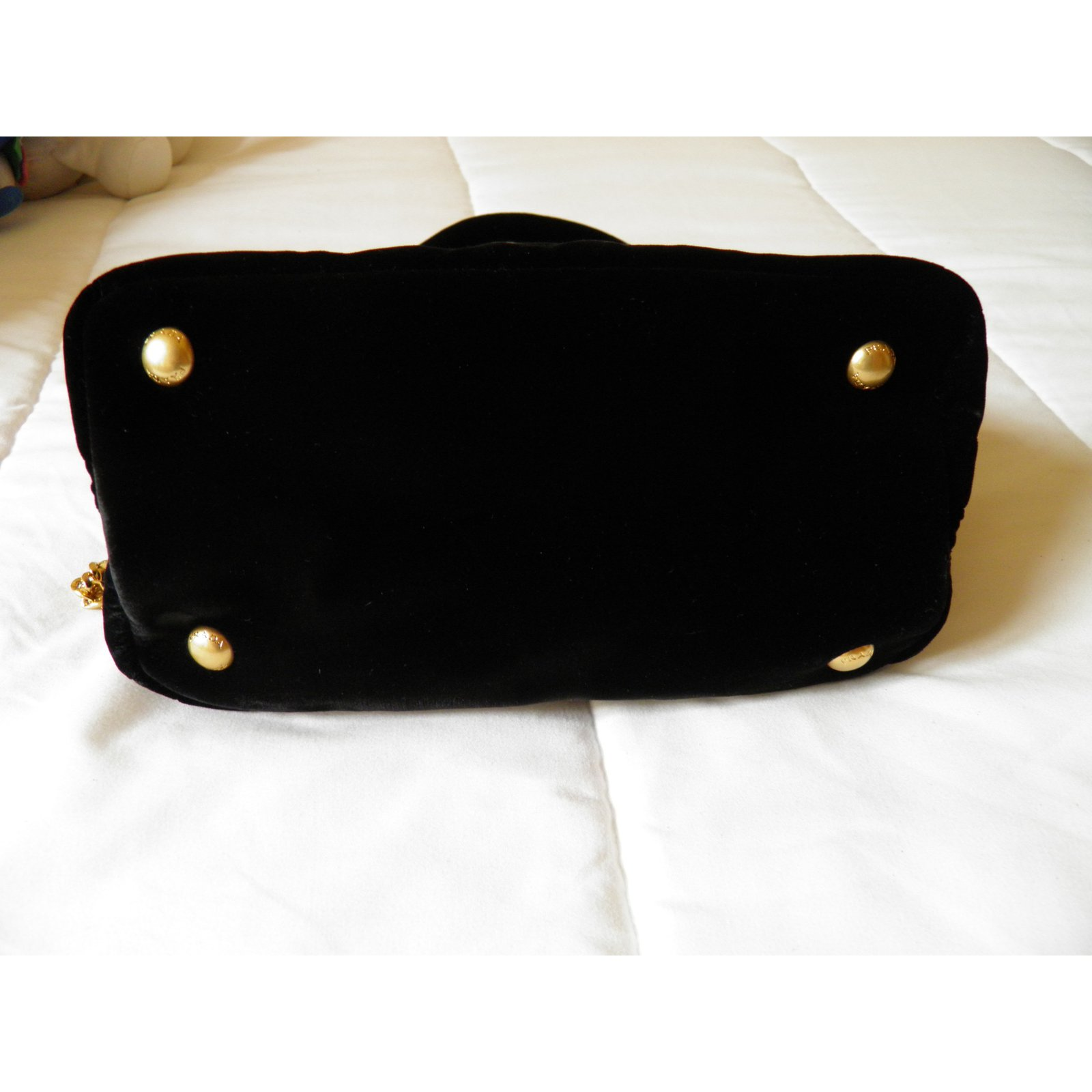 d3db8432c3a7 Facebook · Pin This. Prada mini bag Handbags Velvet Black ref.68886