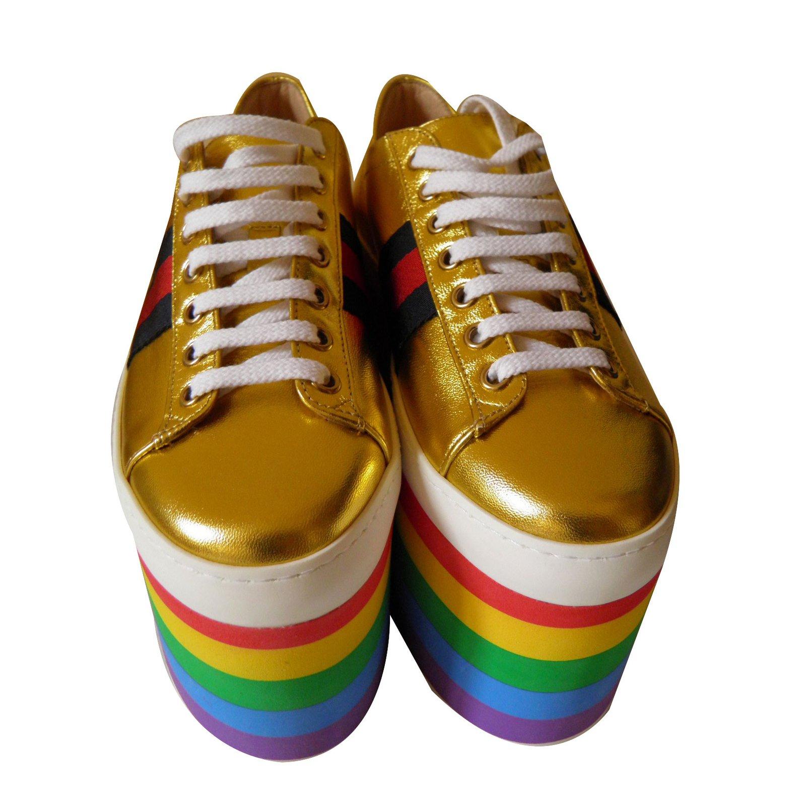 0cf48aed868 Gucci rainbow platform sneakers Sneakers Leather Golden ref.69192 - Joli  Closet