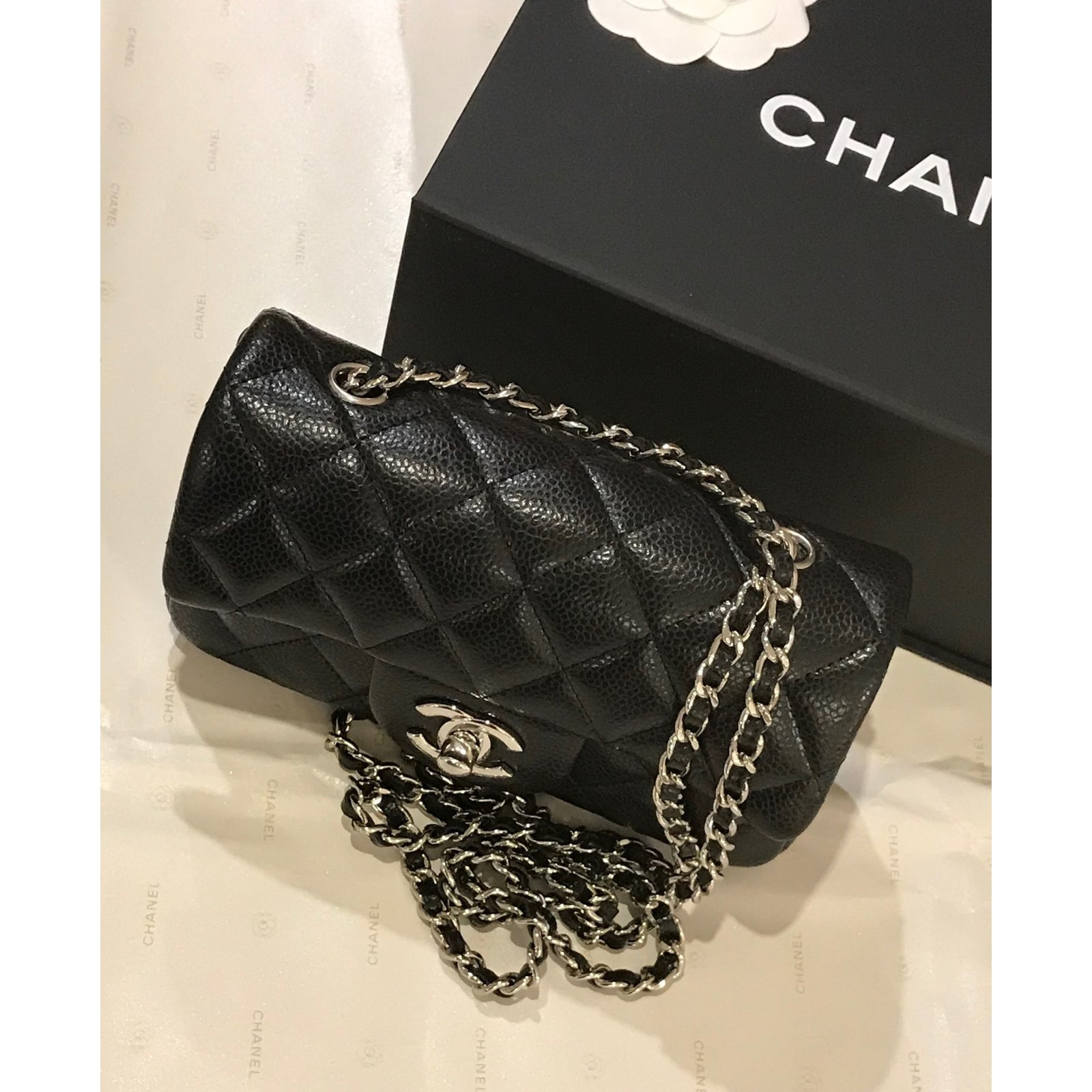 e1c582d741bd91 Chanel extra mini classic flap bag in black caviar leather with silver hw  Handbags Leather Black ref.69264 - Joli Closet
