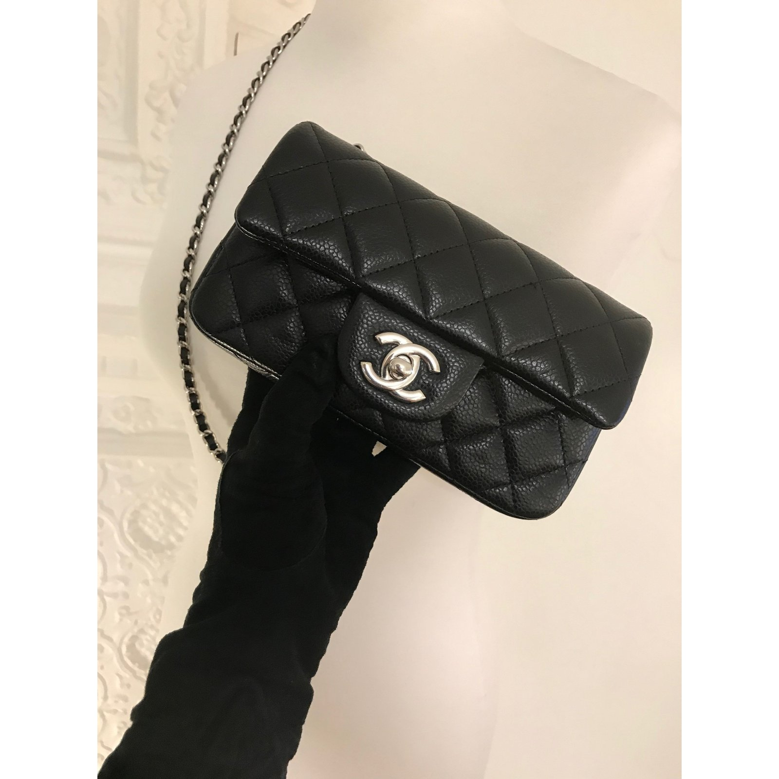 9f7b23d8 extra mini classic flap bag in black caviar leather with silver hw