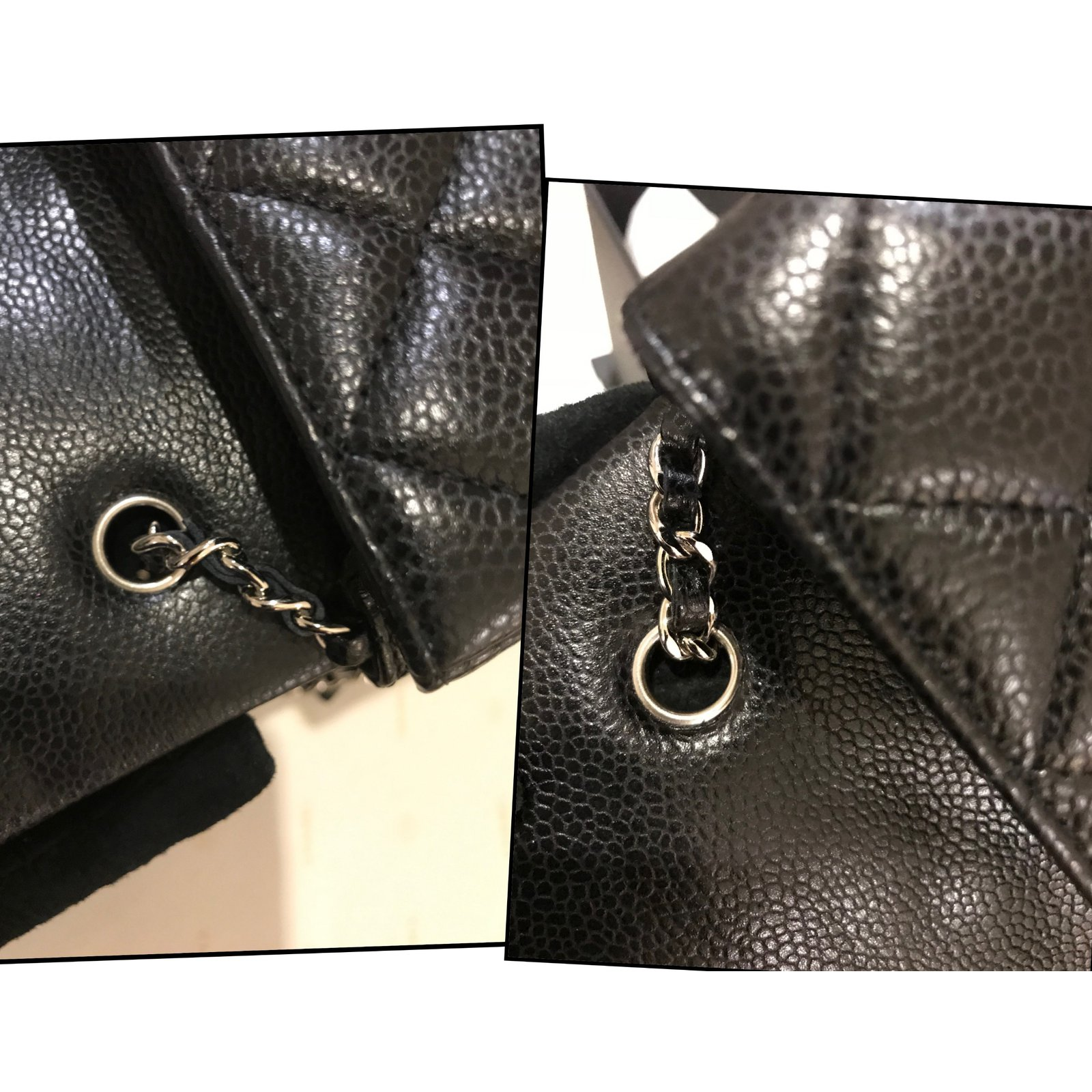 83401f473db4 Facebook · Pin This. Chanel extra mini classic flap bag in black caviar  leather with silver hw Handbags Leather Black