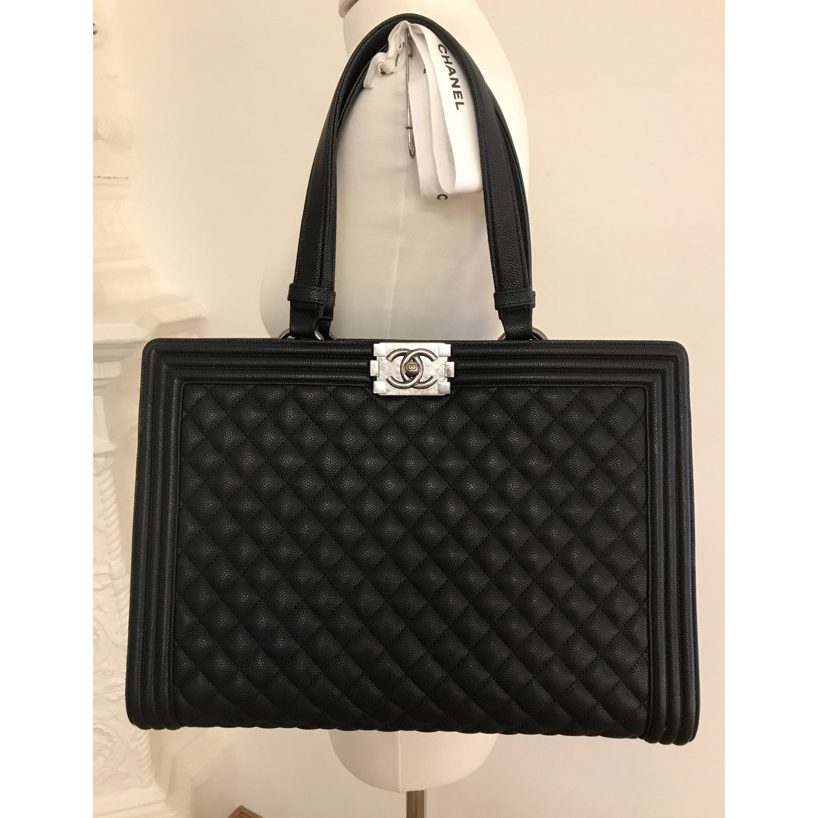 0499f308cadb Chanel CHANEL Black Quilted Calfskin Boy Large Shopping Tote Bag in ...