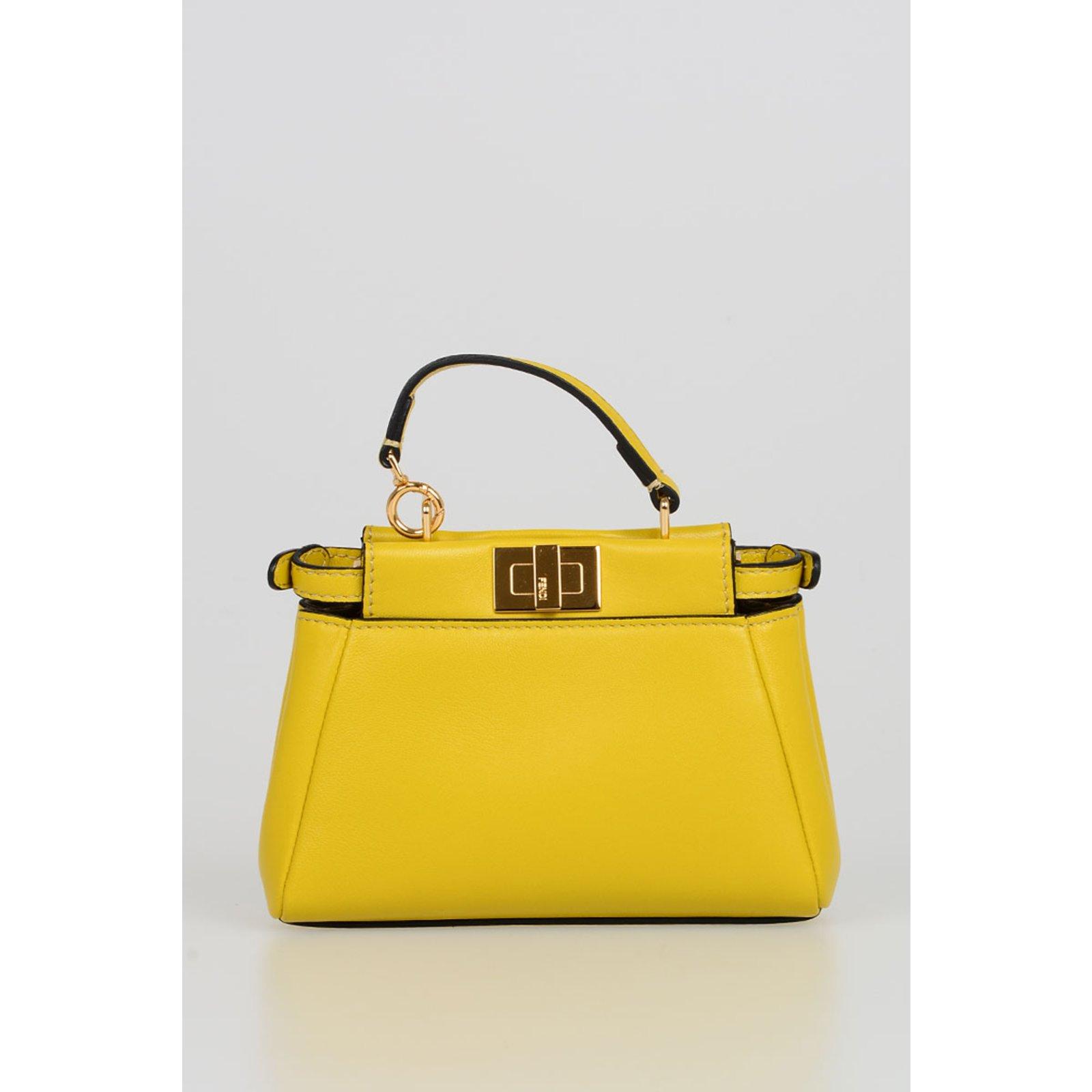 ce5b6e56443a Fendi peekaboo Mini Handbags Leather Yellow ref.71760 - Joli Closet