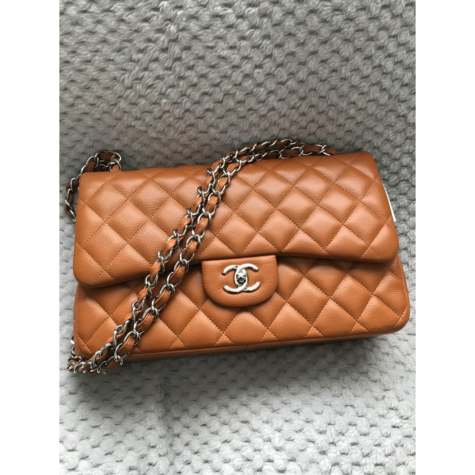 69150c345117 Facebook · Pin This. Chanel Chanel Jumbo Timeless Classic lined Flap Bag - Caviar  leather - Rich Caramel Handbags Leather