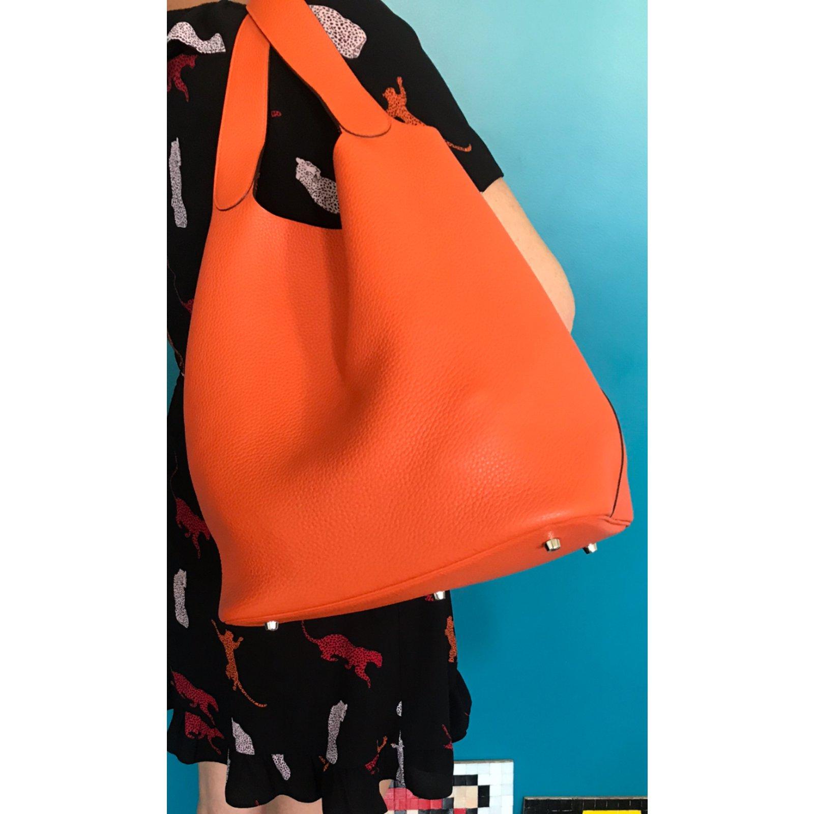 41cb31f45a Facebook · Pin This. Hermès Picotin Handbags Leather Orange ...