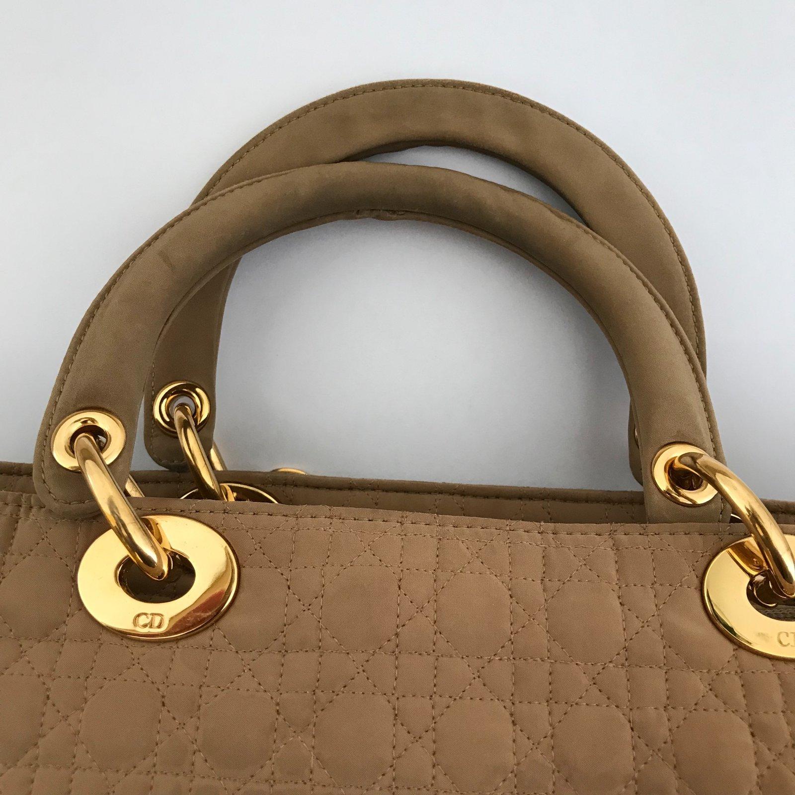 429f6d7885e Christian Dior Lady Dior bag Handbags Nylon Beige ref.72931 - Joli Closet