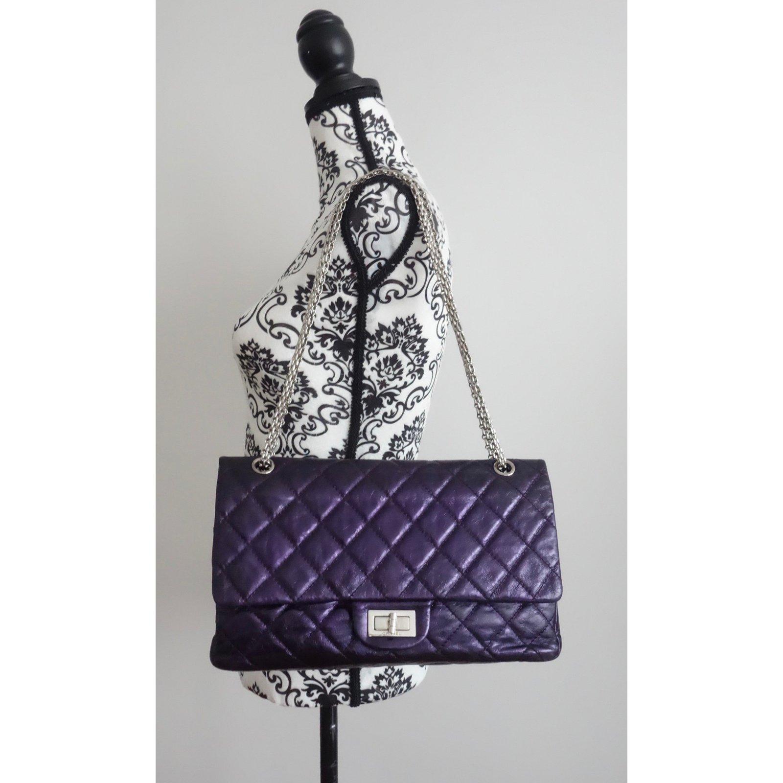 11671e093945e8 Chanel 2.55 maxi Handbags Leather Purple ref.73702 - Joli Closet