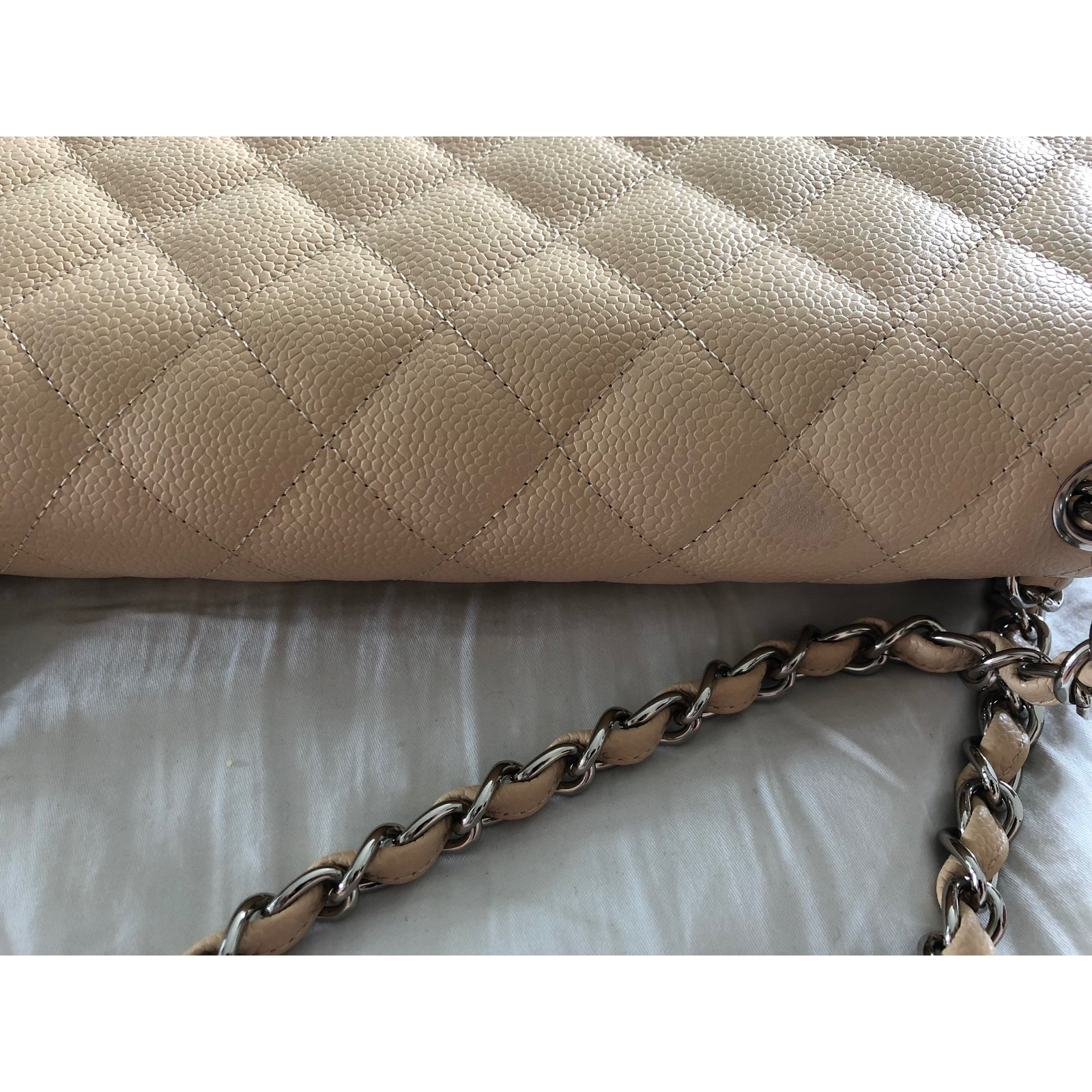 8a95e6dc9b6f86 Chanel Jumbo lined Flap bag Handbags Leather Beige ref.75132 - Joli Closet