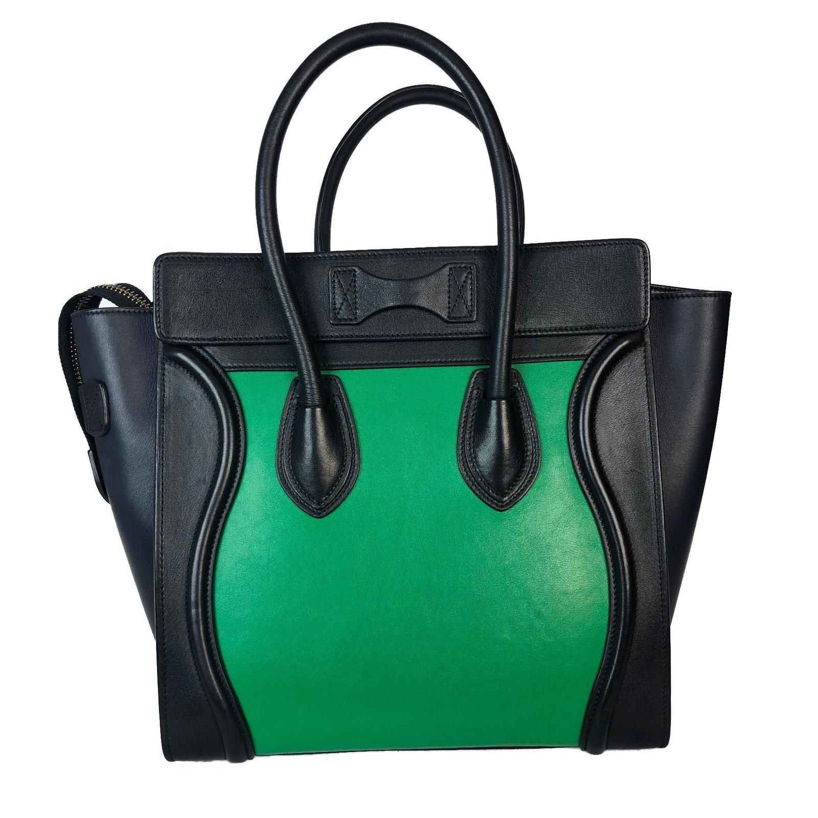 Sacs à main Céline Luggage Cuir Noir,Vert ref.75693 - Joli Closet 318771800b