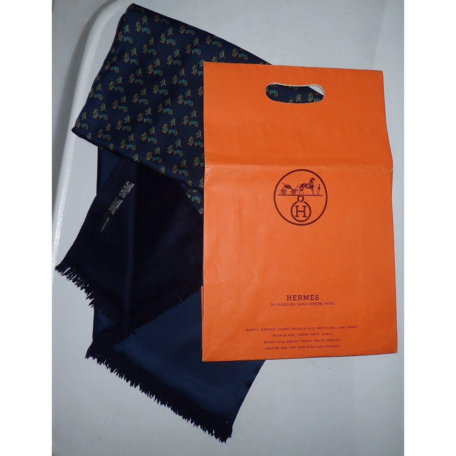 Echarpes homme Hermès Echarpes homme Soie,Cachemire Bleu ref.76929 - Joli  Closet f90bc0b9752